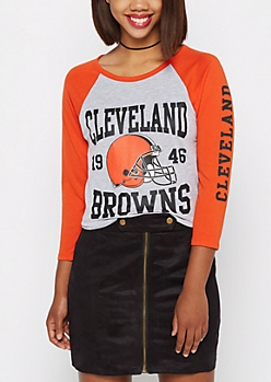 Cleveland Browns Heathered Baseball Tee