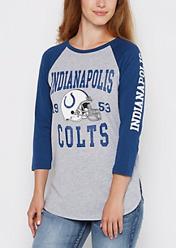 Indianapolis Colts Heathered Baseball Tee