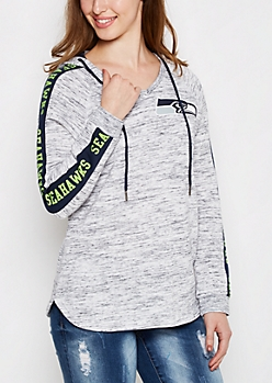 Seattle Seahawks V-Neck Space Dyed Hoodie