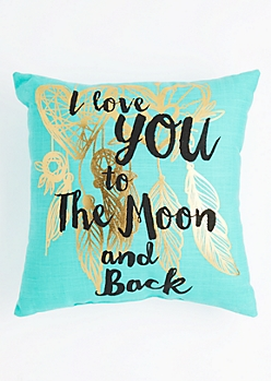 Moon & Back Golden Feather Throw Pillow