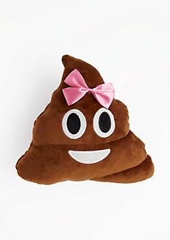 Bow Emoji Poo Throw Pillow
