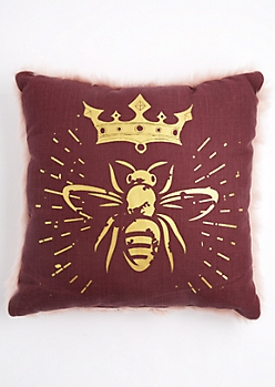 Queen Bee Furry Throw Pillow