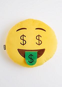 Dollar Sign Smiley Throw Pillow