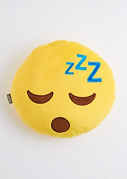 Sleepy Smiley Emoji Throw Pillow