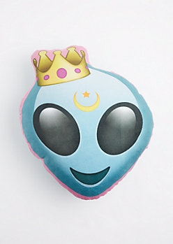 King Alien Emoji Velour Pillow