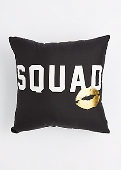 Squad Foiled Kiss Throw Pillow