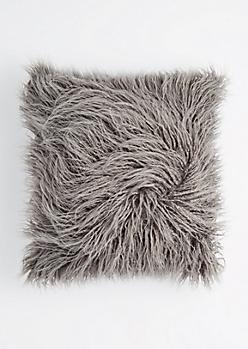 Gray Faux Fur Throw Pillow