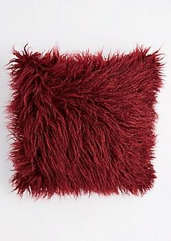 Burgundy Faux Fur Throw Pillow