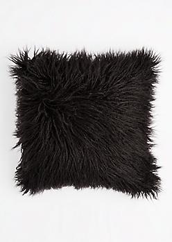 Black Faux Fur Throw Pillow