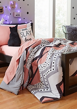 Twin - Coral Dotted Chevron 5-Piece Comforter Set