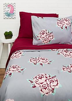 Twin - Floral 5-Piece Comforter Set