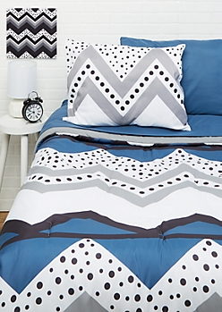 Twin - Dotted Chevron 5-Piece Comforter Set