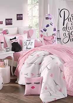 Full/Queen Eiffel Hearts 7-Piece Comforter Set