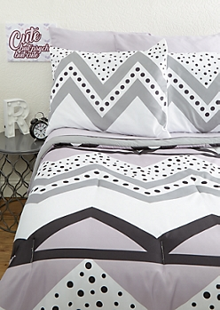Full Purple Dotted Chevron 7-Piece Comforter Set