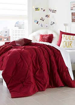 Full - Burgundy Pintuck 3-Piece Comforter Set