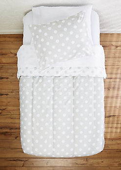 Twin - Gray Dotted 5-Piece Comforter Set