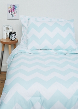 Twin - Turquoise Chevron Dotted 5-Piece Comforter Set