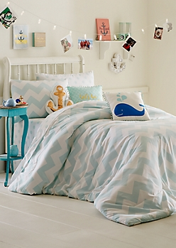 Full/Queen - Turquoise Chevron Dotted Comforter Set