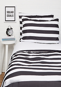 Full/Queen Black Striped 3-Piece Comforter Set