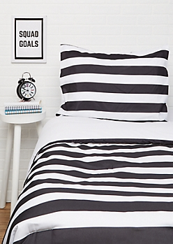 Twin Black Striped 2-Piece Comforter Set