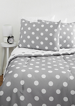 Full/Queen Polka Dot Reversible 7-Piece Comforter Set