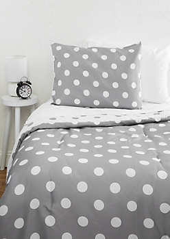 Twin XL Gray Polka Dot 5-Piece Comforter Set