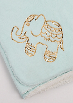 Sequined Boho Elephant Plush Blanket