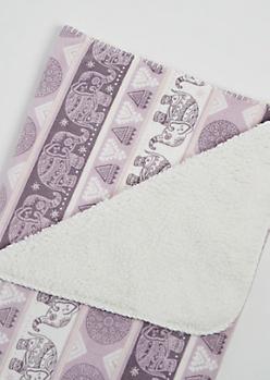 Lavender Boho Elephant Plush Blanket