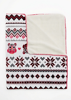 Burgundy Owl Fair Isle Mock Sherpa Blanket