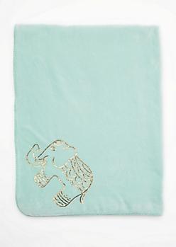 Mint Sequined Elephant Mock Sherpa Blanket