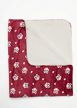 Owl & Hearts Fleece Blanket