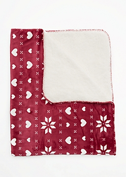 Burgundy Snowflake Fair Isle Fleece Blanket