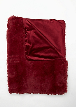 Burgundy Faux Fur Shag Blanket