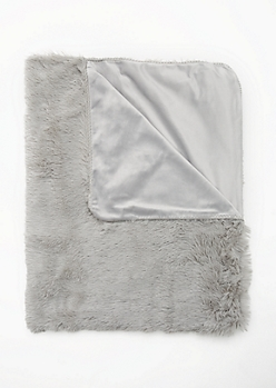 Gray Faux Fur Shag Blanket