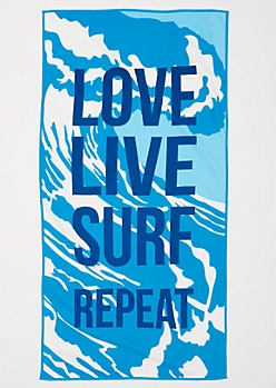 Love Live Surf Repeat Terry Beach Towel