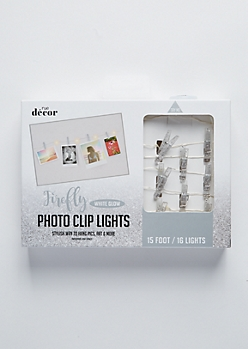 Silver Glitter Firefly Photo Clip String Lights