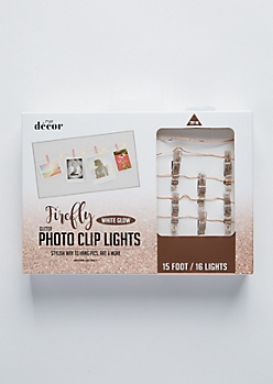 Rose Gold Glitter Firefly Photo Clip String Lights