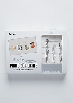 Silver Chrome Firefly Photo Clip String Lights