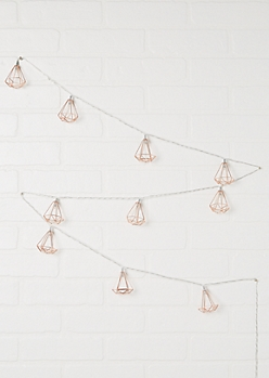 Rose Gold Metal Geo Frame String Lights