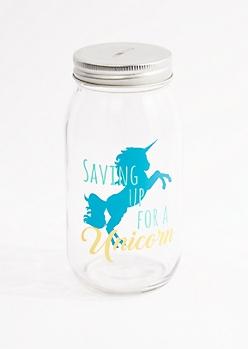 Saving Up For A Unicorn Mason Jar Bank