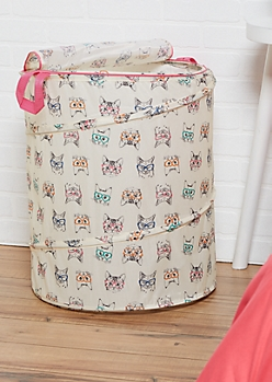 Hipster Heart Cat Pop-Up Laundry Hamper