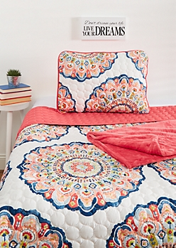 Twin XL - Floral Mandala 3-Piece Quilt Set