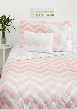 King - Pink Chevron 5-Piece Quilt Set