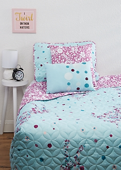 Twin XL - Floral Unicorn 4-Piece Quilt Set