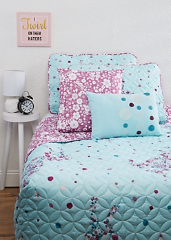 Full/Queen Floral Unicorn 5-Piece Quilt Set