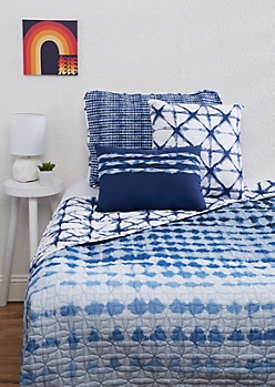 Twin XL - Blue Shibori 4-Piece Quilt Set