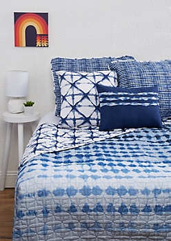 Full/Queen - Blue Shibori 5-Piece Quilt Set