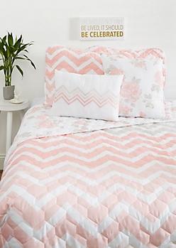 Full/Queen - Pink Chevron 5-Piece Quilt Set