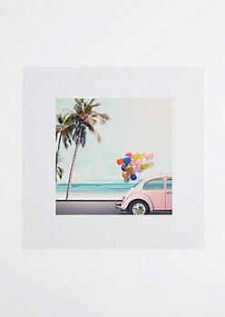 Pink Balloon Car Poster