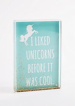 Liquid Gold Glitter Unicorn Box Frame